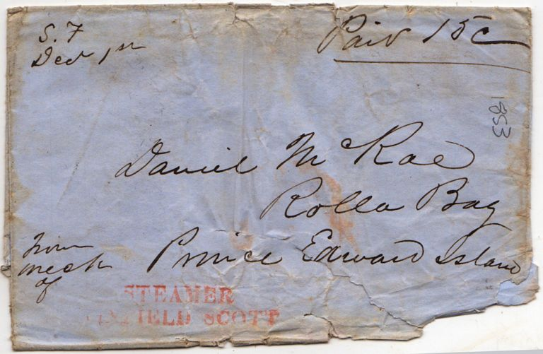 Rare shipwreck cover addressed to Prince Edward Island, Canada, from the California Gold Rush Steamer Winfield Scott