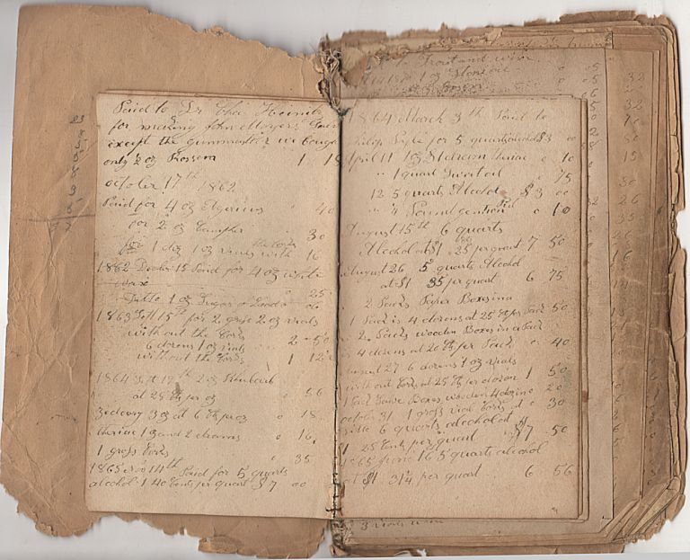 Handmade twenty-year ledger from a Pennsylvania physician documenting his purchases of medicine and supplies between 1861 and 1880. David Zerbe.