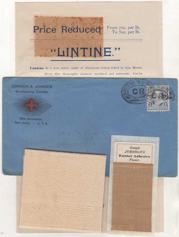 Johnson & Johnson advertising packet including samples of Lintine and Johnson's Rubber Adhesive Plaster.