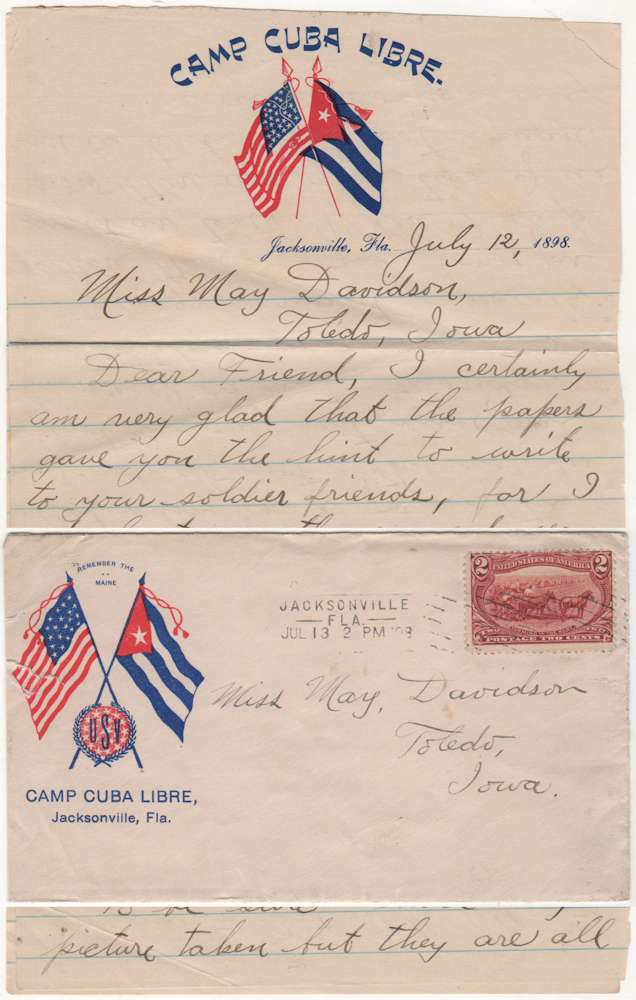 A flirty letter from a volunteer hospital corps soldier using patriotic stationery to a young woman back home in Iowa. Claude S. Deal to May Davidson.