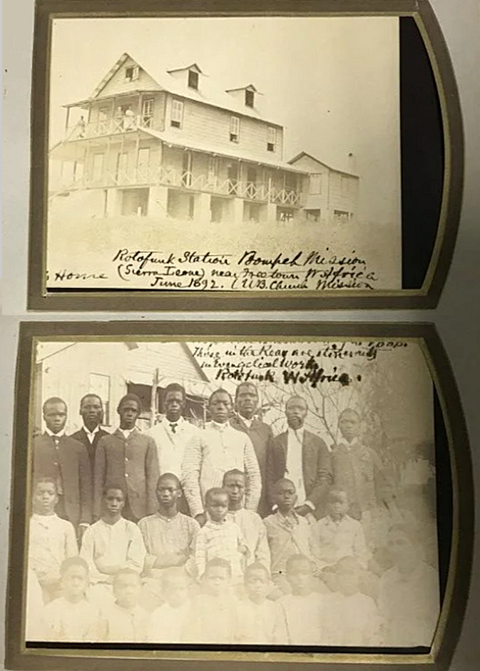 Cabinet card photograph album documenting prominent United Brethren missionaries serving in Sierra Leone and Japan including two views of the mission and local converts at Rotofunk Station shortly before its staff and converts were massacred by Mende tribesman and the entire station razed to the ground. Probably, John Keller or his wife.