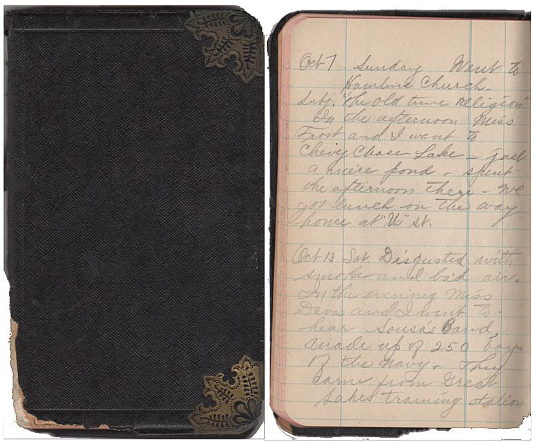 World War I diary kept by a young, wide-eyed independent woman who left her home in Iowa for a Civil Service job in Washington, DC. Cora Lorenz.