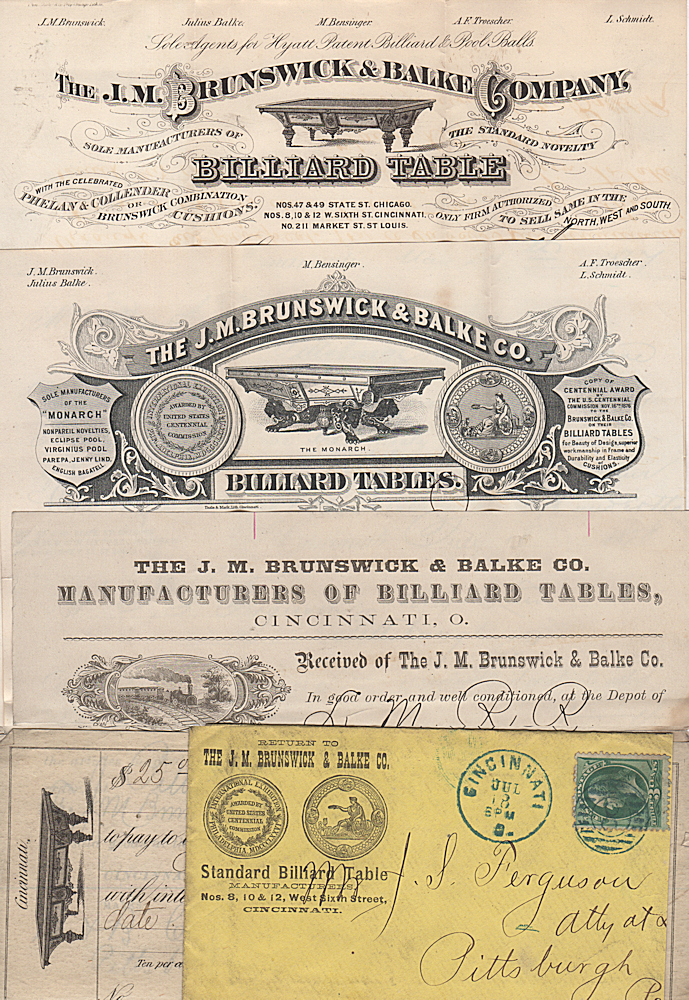 A small archive of forms and letters documenting a legally-contested purchase of a billiard table from the newly incorporated Brunswick & Balke Company