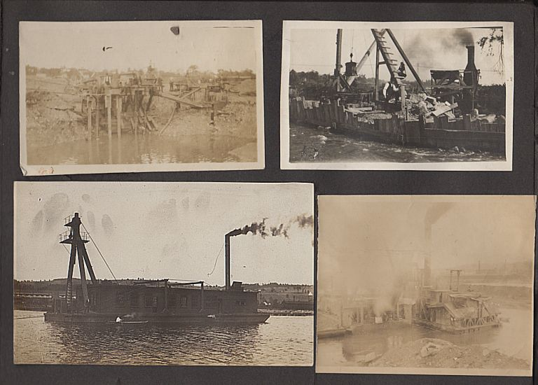 Photograph album documenting improvement projects along the Erie Canal during the construction of the New York State Barge Canal system. Possibly Daniel Sullivan.