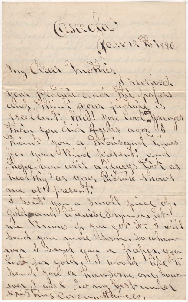 "Letter from a gold prospector who served as the ""judical chair"" for a mining camp. W. B."