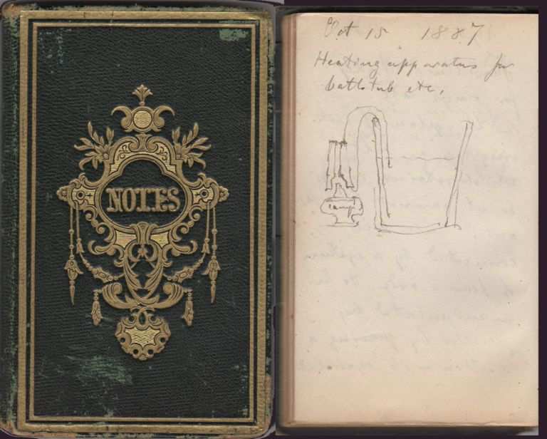 An inventor's hand-written, illustrated notebook identifying over 66 pages of short, but wide-ranging, descriptions of potential devices for use in laboratories, construction, tailoring, manufacturing, etc. Theodore Bacmeister.