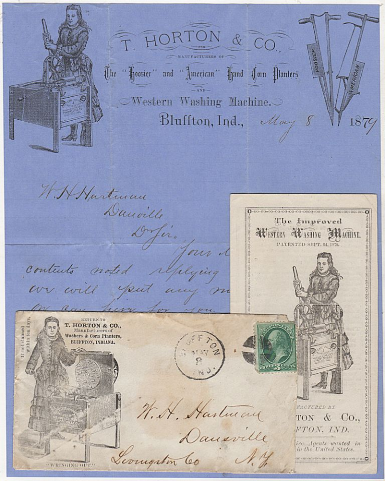 Lot of advertising materials related to the first all-in-one washing machine, the T. Horton Western Washing Machine, issued while the then current management of the company was engaged in a trademark infringement lawsuit with its founder who had moved on to another business