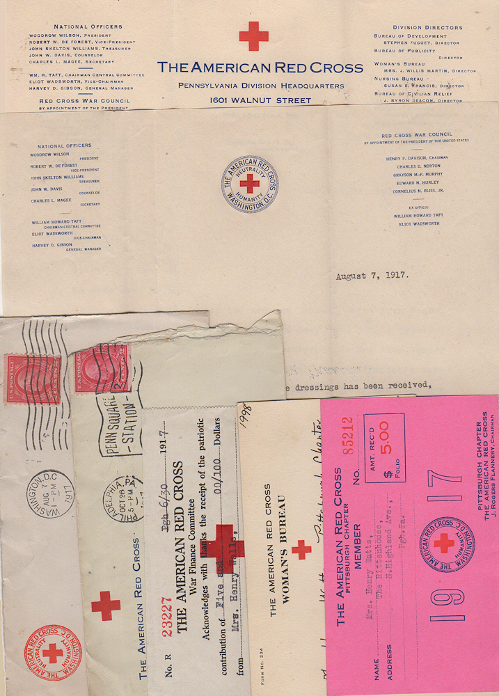 Correspondence archives documenting one woman's effort to volunteer a surgical bandage and dressing preparer during World War One. Mary Watts.