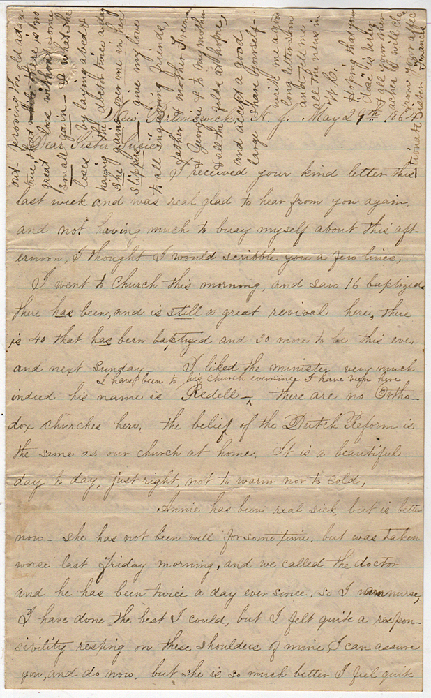 Detailed letter describing the transport of fresh troops and wounded by steamers on the Rappahannock River between Alexandria, Virginia and Fredericksburg following the Battle of the Wilderness. By Frances.