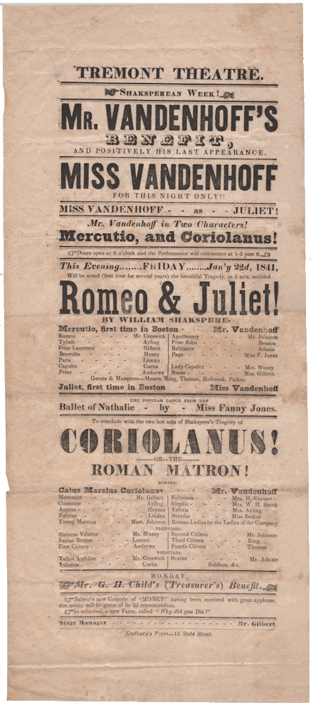 Playbill featuring one of the last American performances of the acclaimed 19th century Shakespearean actor, John Vandenhoff