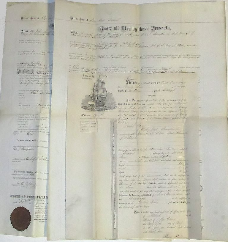 Joseph Davey (Davy?), John & Eliza Snodgrass, and William H. Brooks. Two large, Benwood impressive Bills of Sale for the Steam Tow Boat.