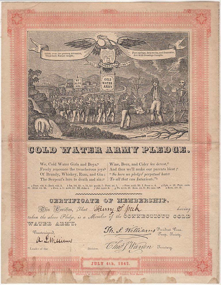 Cold Water Army Pledge: Certificate and Song Sheet. Issued to Henry S., et. al T. S. Williams.