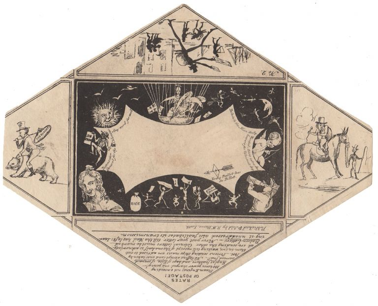 """""""Baloon Mail"""", R. W. Hume of Leith, Comic Envelope No. 2, Unlisted state. R. W. Hume."""