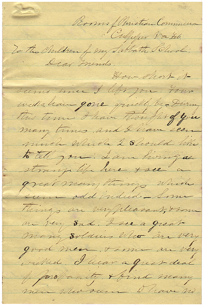 Letter from a civilian Christian Commission clergyman following the Union Army's Bristoe Campaign to his Sunday School students in Massachusetts. P. B. Davis, Perley Bacon.