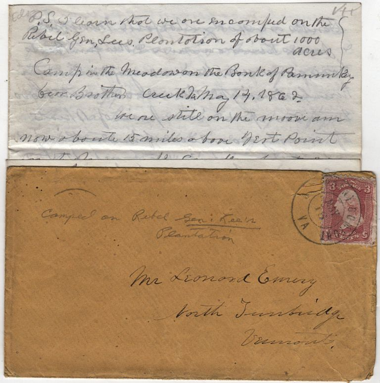 Letter from Union Corporal to his brother from General Lee's plantation on the Pamunkey River describing a massive Union encampment as well as recounting the Battle of Williamsburg that had occurred about a week earlier. Edson Emery.