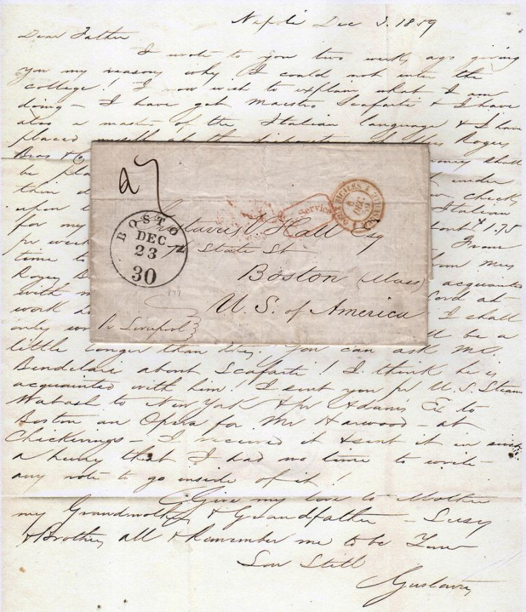 A defensive letter from a young American in Italy to his father, justifying his decision to abandon college and study opera in Naples; Napoli, [Two Sicilies]. Gustavus Hall.