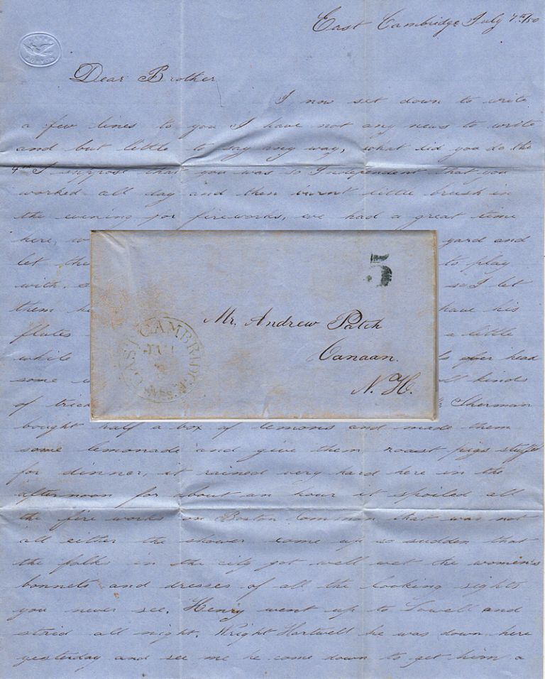 A detailed letter from a guard at East Cambridge Jail (which was made infamous by Dorothea Dix nine years before) describing the inmates' Independence Day celebration and the imminent hangings of two of the most notorious 19th-century Massachusetts murderers. G. Patch.