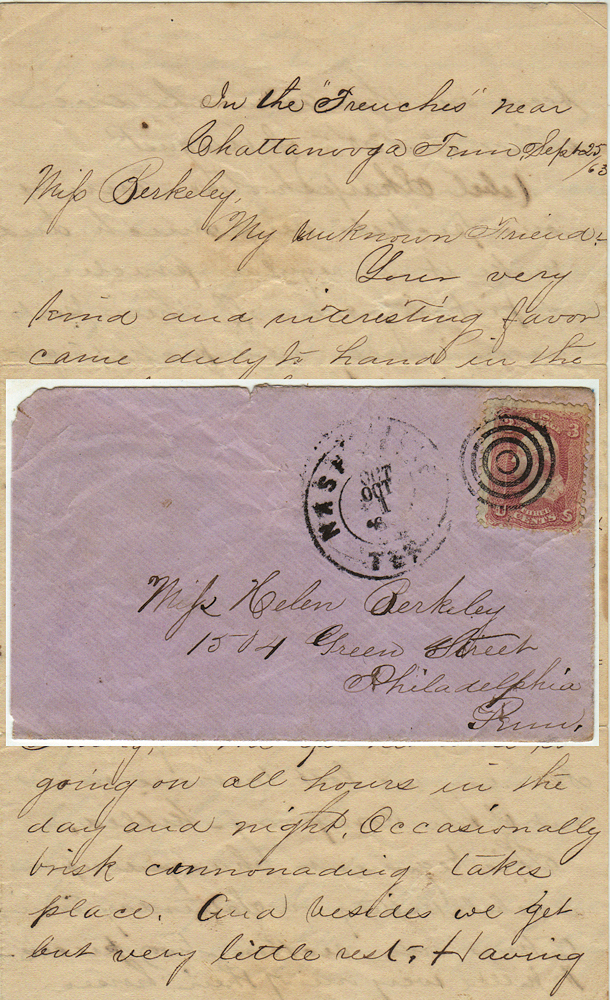 Detailed letter providing a first-hand description of the gallant performance of the 93rd Ohio Volunteer Infantry Regiment at the Battle of Chickamauga. Jehu Harman.