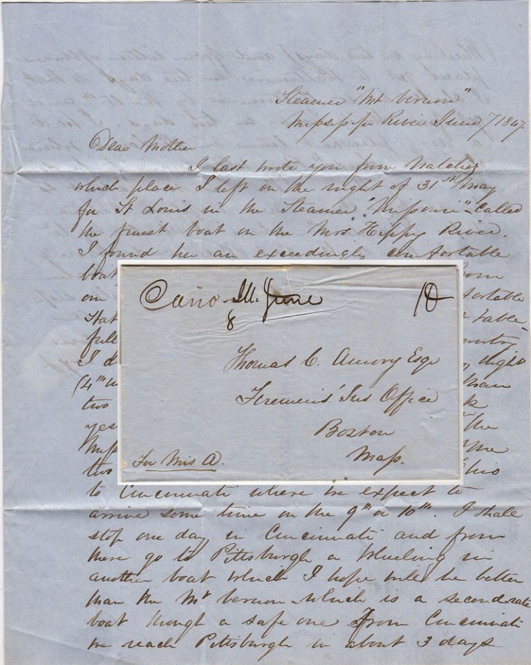 Letter from a young man to his mother describing his travels on the Mississippi River and plan to return East by the Ohio. Thomas C. Awery Jr.