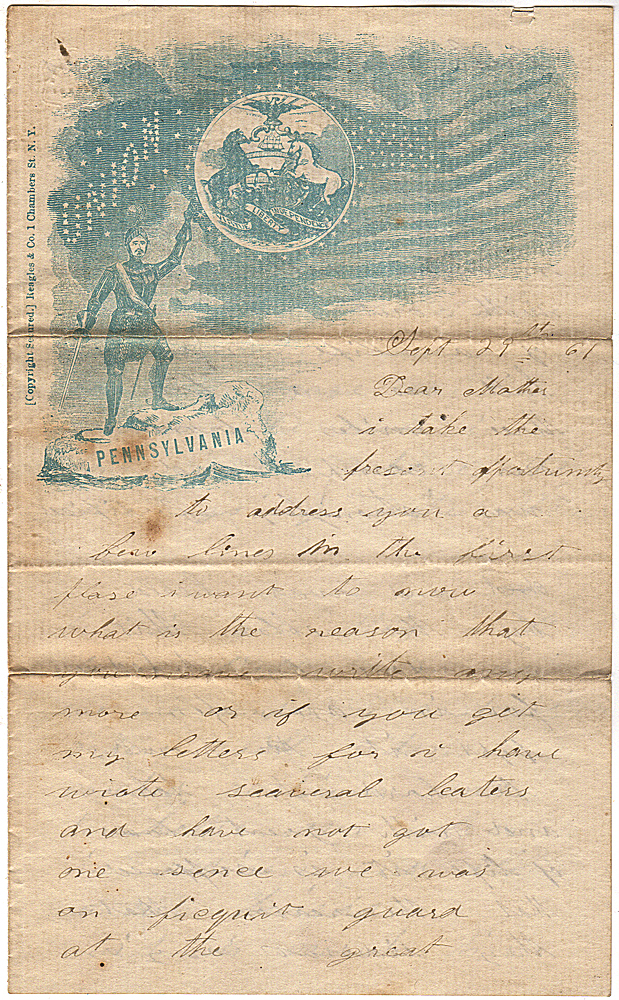 """Letter from a Union soldier describing General McClellan's taking of Munson Hill, a Confederate """"fort"""" that deceptively threatened Washington, D.C during the early months of the Civil War. Elij Matheny."""