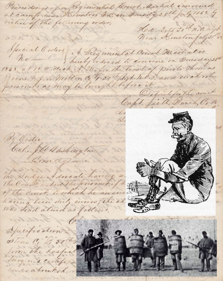 Proceedings of a Court Martial of long-AWOL Confederate soldier that imposed punishment which would be considered cruel and unusual today. Trial of Isham Stone.