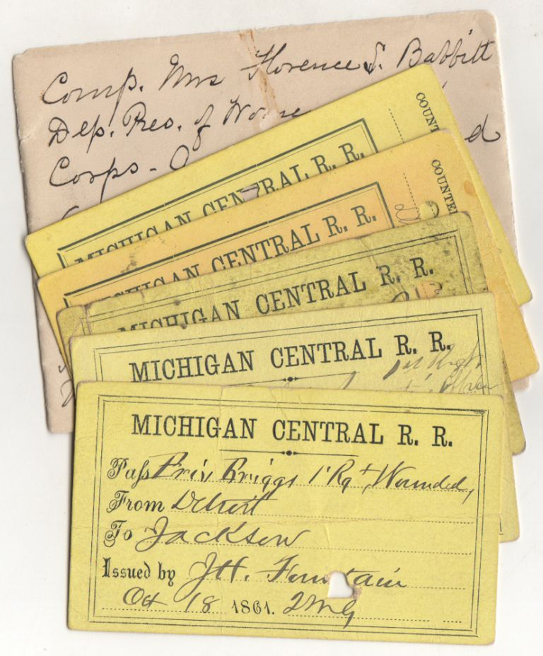 Set of five 1861 Civil War Michigan Central Rail Road passes for soldiers of the 1st Michigan Infantry Regiment including one issued to a private who was wounded at The First Battle of Bull Run (Manassas). soldiers, issuing officials.
