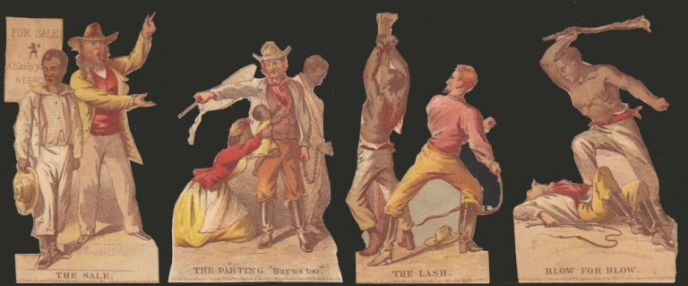 Four chromolithographic vignettes from the album card set, Journey of a Slave from the Plantation to the Battlefield. Henry Louis Stephens.