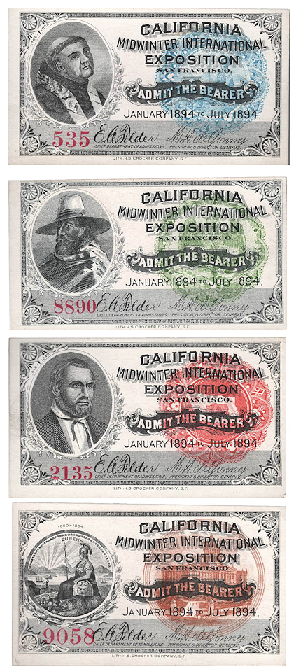 Full set of all four California Midwinter International Exposition admission tickets. Michael H. de Young.