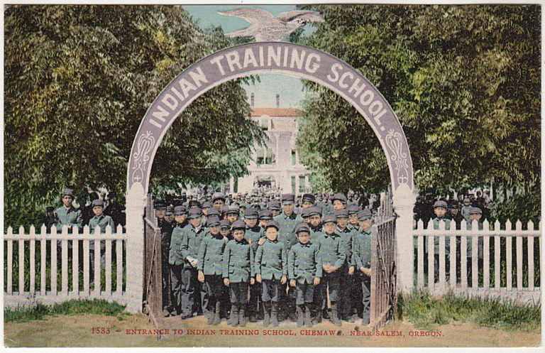 Colorful half-tone picture postcard featuring the Chemawa Indian Training School