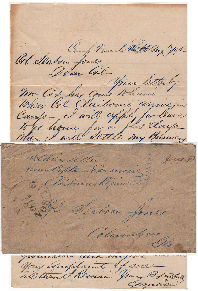 "[A JEWISH CAPTAIN IN THE CONFEDERATE CAVALRY OMINOUSLY PROMISES A GEORGIA LAWYER HE WILL SOON PAY A VISIT TO ""SETTLE MY BUSINESS WITH YOU . . . FOR THE MANNER WHICH YOU HAVE ACTED TOWARDS ME.""]; A short, but threatening, letter sent by a prominent Jewish Confederate cavalry officer to a lawyer in his hometown of Columbus, Georgia. Captain Edwin Warren Moise to Colonel Seaborn Jones."