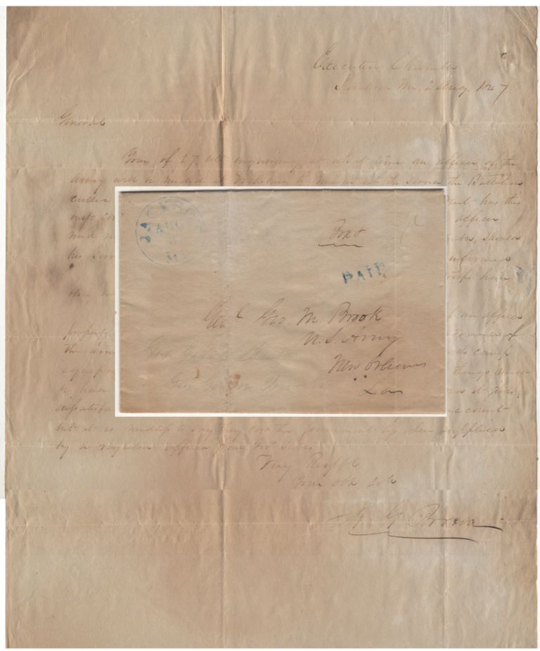 [GOVERNOR ALBERT GALLATIN BROWN COORDINATES THE INTEGRATION OF VOLUNTEER BATTALION OF MISSISSIPPI RIFLEMEN INTO THE ARMY OF THE WEST DURING THE MEXICAN-AMERICAN WAR]; A letter from Governor Brown to General Brooke arranging for Mississippi volunteers to be mustered into federal service for the war in Mexico. Governor Albert Gallatin Brown.