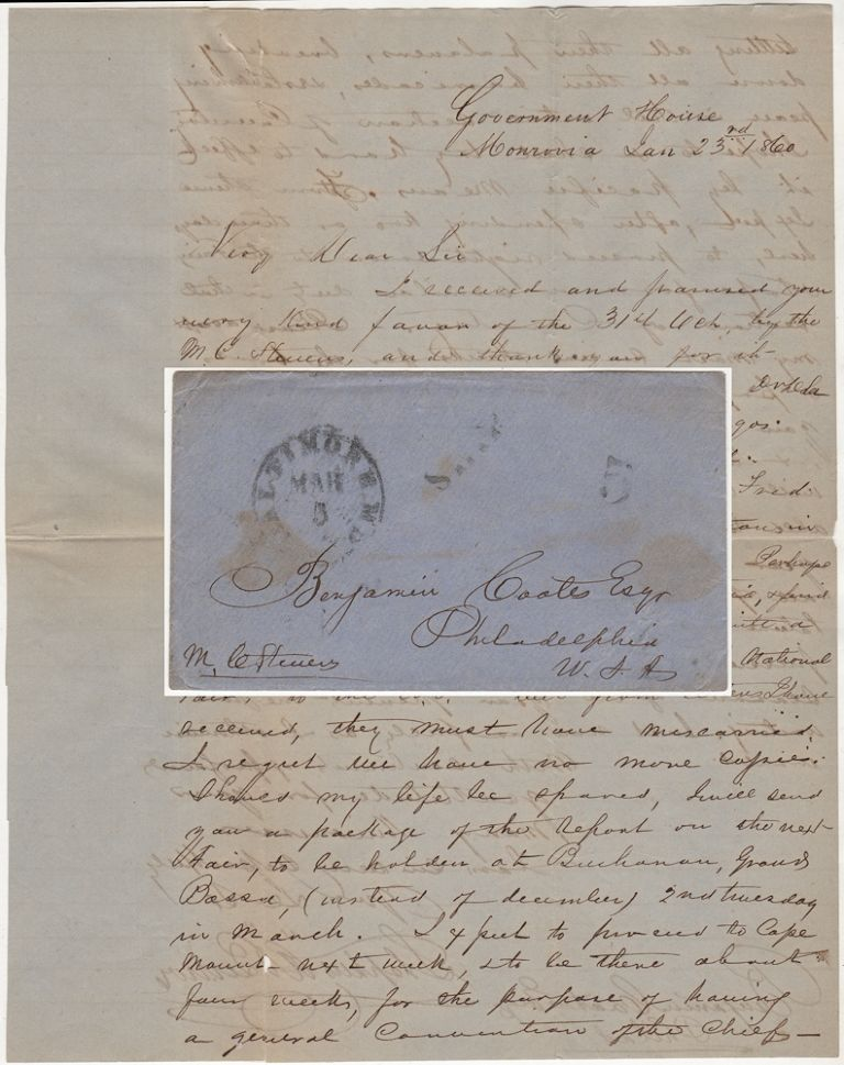 [THE PRESIDENT OF LIBERIA EXPRESSES HOPE THAT FREDERICK DOUGLASS WILL NOT BE ARRESTED FOR HIS ROLE IN JOHN BROWN'S FAMOUS RAID ON HARPERS FERRY]; A letter from the President of Liberia to an important Philadelphia abolitionist and member of the American Colonialization Society. President Stephen Allen Benson.