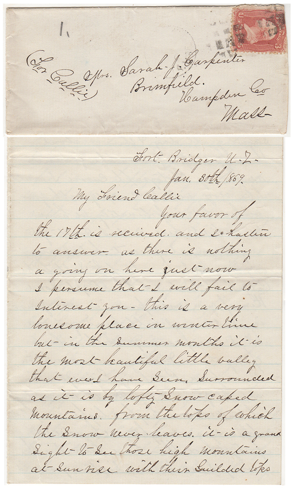 "[A SERGEANT FROM THE 18TH INFANTRY DISCUSSES LIFE AT FORT BRIDGER, THE SNAKE TRIBE, SEEING BRIGHAM YOUNG AND HIS WIVES, AND HIS LESS THAN FAVORABLE IMPRESSION OF ""THE STYLE OF THE MORMONS.]; Two flirty, lonely-hearts, pen-pal letters from a young infantry sergeant stationed at Fort Bridger to a woman he has not met. Sgt. Harry Vincent, a pseudonym."