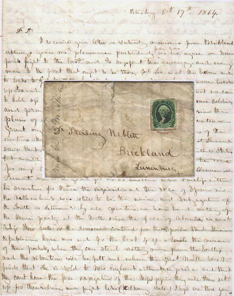 A BOARDING HOUSE OWNER WARNS HER PLANTATION-OWNING BROTHER-IN-LAW THAT AUTHORITIES ARE SEIZING UNACCOMPANIED SLAVES AND FORCING THEM TO BUILD FORTIFICATIONS IN PETERSBURG AS IT IS BESEIGED BY THE UNION ARMY; An exceptional Civil War letter providing the latest war news from Petersburg and Richmond; a rare genuine postal use of the 20c Confederate stamp. Mrs. C. MacFarland to Dr. Sterling Neslett.