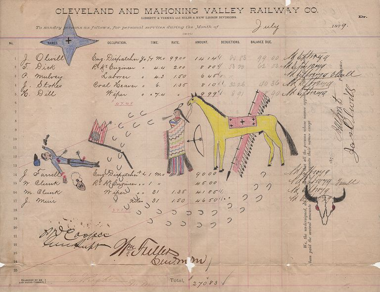 [A CHEYENNE WARRIOR VIEWS A CAVALRY TROOPER HE HAS JUST KILLED AND MUTILATED]; A vivid piece of ledger art depicting a warrior and his horse standing over a dead cavalry guidon-bearer whose right hand he has chopped-off. Unidentified artist.