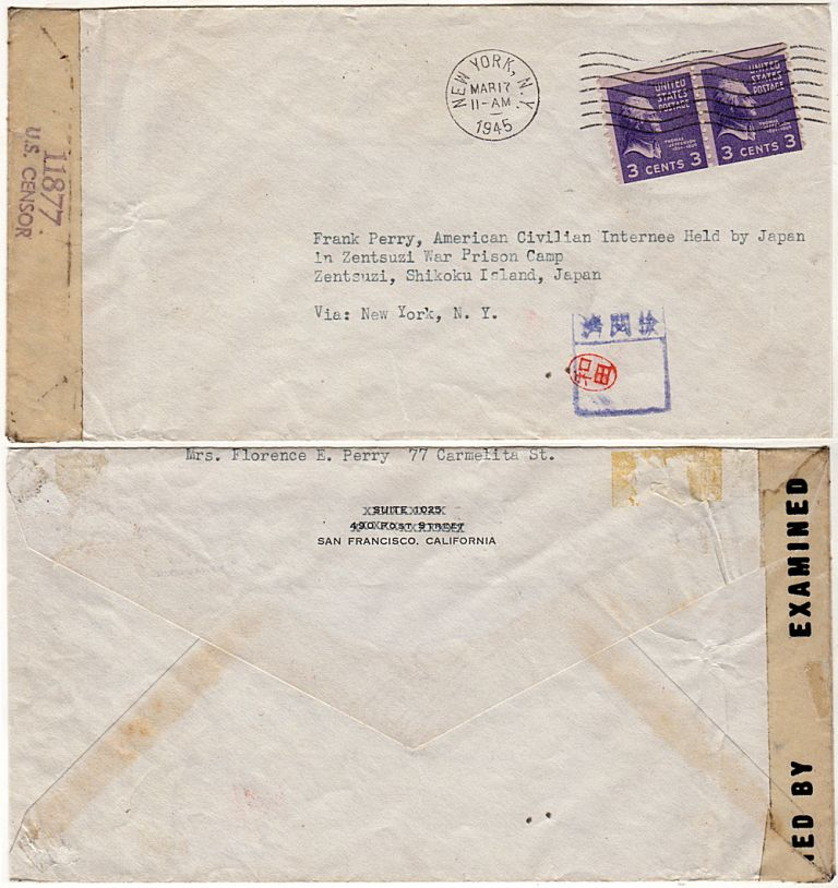 [A WIFE SENDS MAIL TO HER CIVILAN HUSBAND WHO AFTER BEING SHOT IN THE BACK AND PARALYZED DURING THE INVASION OF GUAM WAS IMPRISONED IN A JAPANESE POW CAMP]; Mail sent to Mr. Frank Perry at a Japanese prison camp by his wife in San Francisco. Florence Perry to Frank Perry.