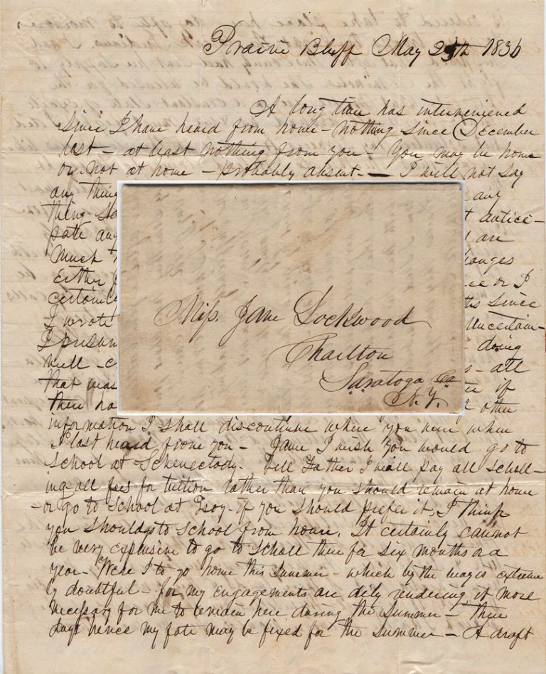 [AN EARLY ALABAMA SETTLER EXPRESSES OUTRAGE THAT UNSCRUPULUS WHITE LAND SPECULATORS HAVE CHEATED MANY CREEKS OUT OF THEIR LAND BUT RESOLVES HIMSELF TO GOING TO WAR AGAINST THE TRIBE SINCE IT HAS INDISCRIMINATELY ATTACKED ALL WHITES INSTEAD OF THOSE RESPONSIBLE FOR THEIR SUFFERING]; Letter from an Alabama merchant to his sister in New York. E. Lockwood to Jane Lockwood.