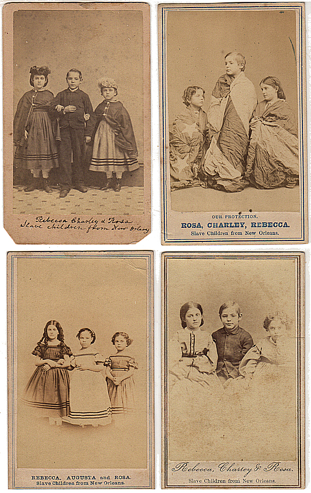 [WHITE SLAVE CHILDREN FROM NEW ORLEANS ARE PUT ON DISPLAY BY THE FREEDMANS BUREAU TO BOLSTER FLAGGING NORTHERN SUPPORT FOR CONTINUING THE CIVIL WAR]; Twelve different cartes-de-visite picturing white slave children from New Orleans who were freed when General Benjamin Butler occupied the city. Six, four Chas. Paxon, M. H. Kimball, two without attributio.