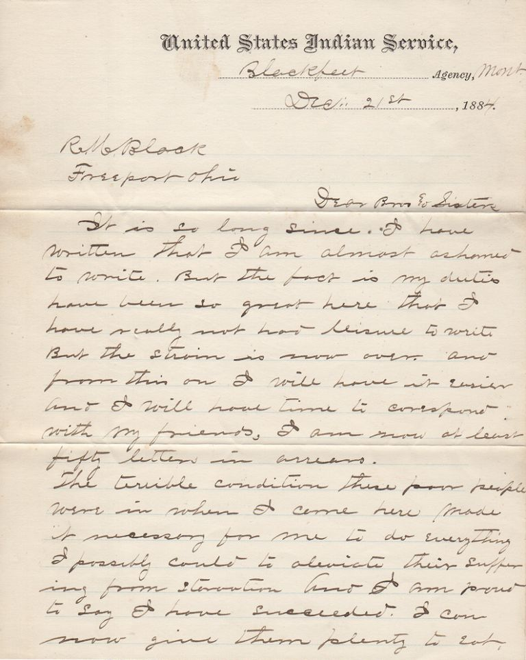 """[THE U.S. ARMY INDIAN AGENT, CREDITED WITH SAVING MOST OF THE PIEGAN BLACKFEET TRIBE FOLLOWING THE """"STARVATION WINTER"""" THAT KILLED A QUARTER OF ITS MEMBERS, DESCRIBES THE BOUNTY OF FEDERAL FOOD AVAILABLE FOR DISTRIBUTION THE FOLLOWING YEAR]; Letter from Major Rueben A. Allen to family in Ohio describing life at Montana's Blackfeet Agency. Major Rueben A. Allen."""