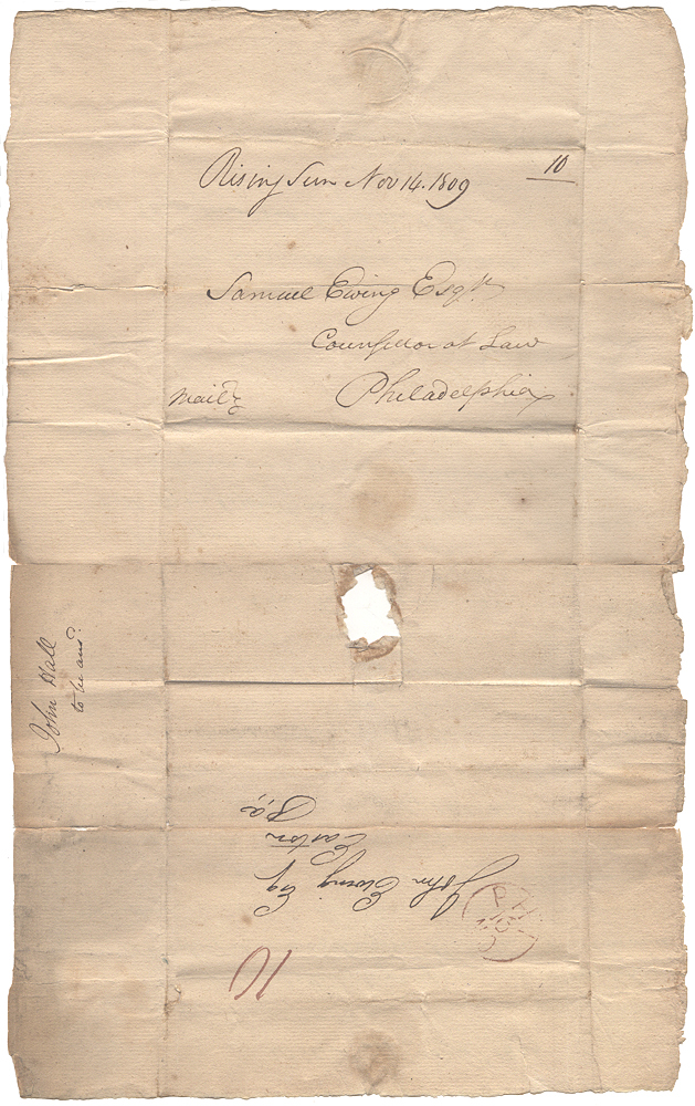 """[Turned stampless letter regarding farmland in Kentucky and the possibility of purchasing a """"Negro boy""""] Letter written in Octorora, Pennsylvania and posted at Rising Sun, Maryland, for delivery to Philadelphia and forwarding to Easton, Maryland. Jno Hall to John Ewing via Samuel Ewing, Jack."""