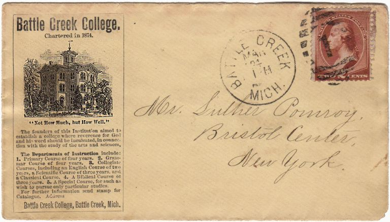 Postal advertising for Battle Creek College
