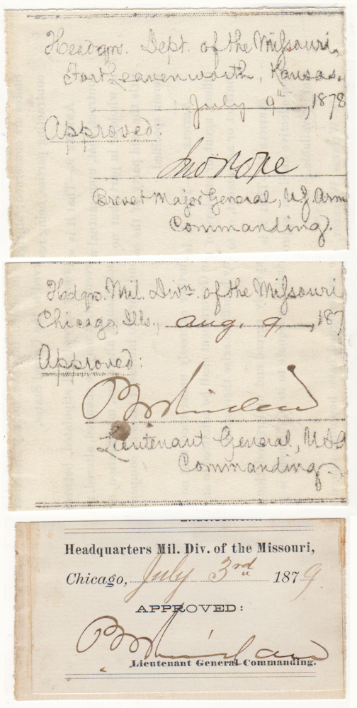 SENIOR INDIAN WARS GENERALS ALLOW THEIR SUBORDINATES TO TAKE A DAY FOR THEMSELVES; Two passes signed by Lieutenant General Philip Sheridan and one pass signed by Brevet Major General John Pope. Lieutenant General Philip Sheridan, Brevet Major General John Pope.
