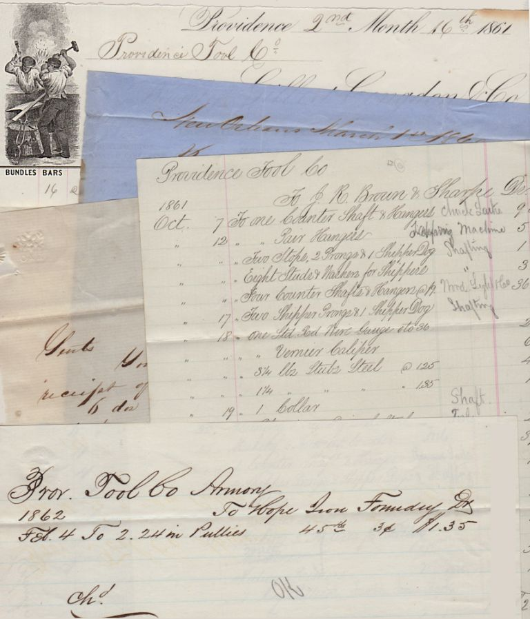 A RHODE ISLAND FACTORY'S CIVIL WAR RECORDS; Civil War Era Archive from the Providence Tool Co. Armory with over 300 manuscript and partially-printed purchase orders, bills, letters, inventory lists, sales records, and other documents. Providence Tool Company Armory.
