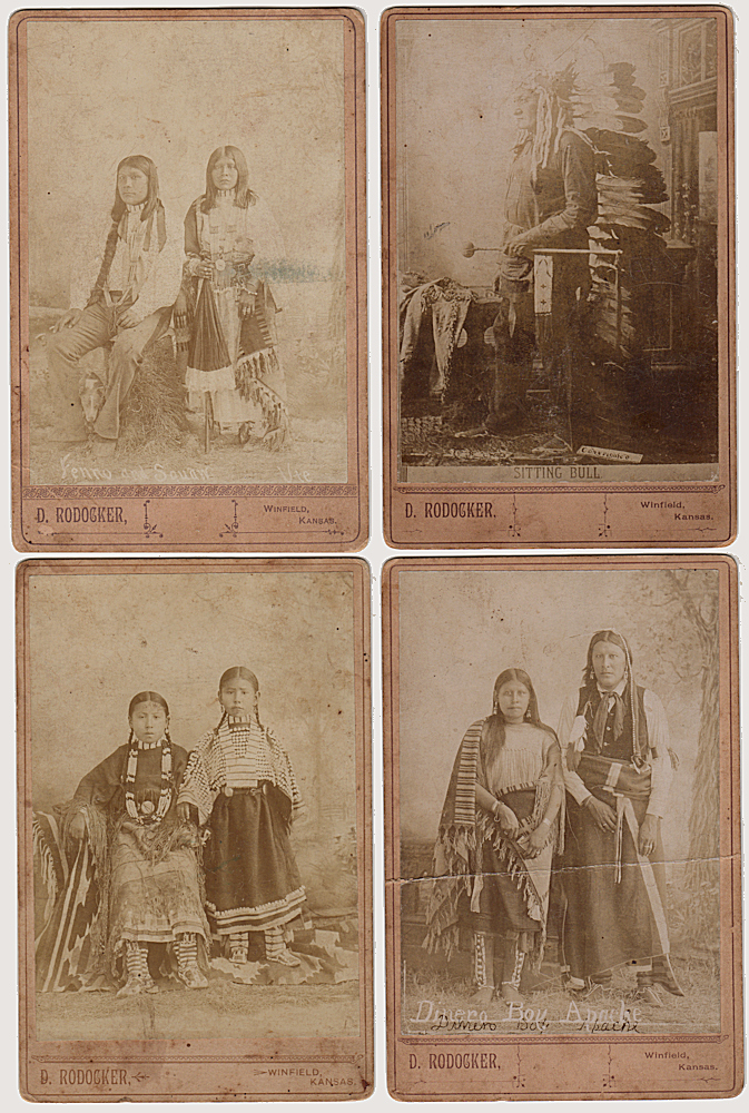 CABINET CARD PHOTOGRAPHS OF SITTING BULL, FENNO, AND DINERO BOY; Four cabinet card photographs of Native Americans, including Sitting Bull, sold by the western photographer, D. [David] Rodocker. D. Rodocker, David.