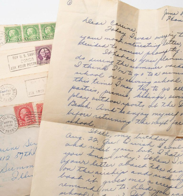 """DEPRESSION-ERA PENPAL LETTERS FROM A HAWAIIAN HIGH SCHOOL STUDENT - """"THE LIGHT OF THE SETTING SUN FLAMED ON THE DIAMOND HEAD AND TINTED WITH GOLD WEEPING IN THE CORAL REEFS."""" Archive of eleven Depression-era letters from a Hawaiian high school student to her pen-pal in Chicago. Gladys Sen to Corinne 'Connie' Serpe."""