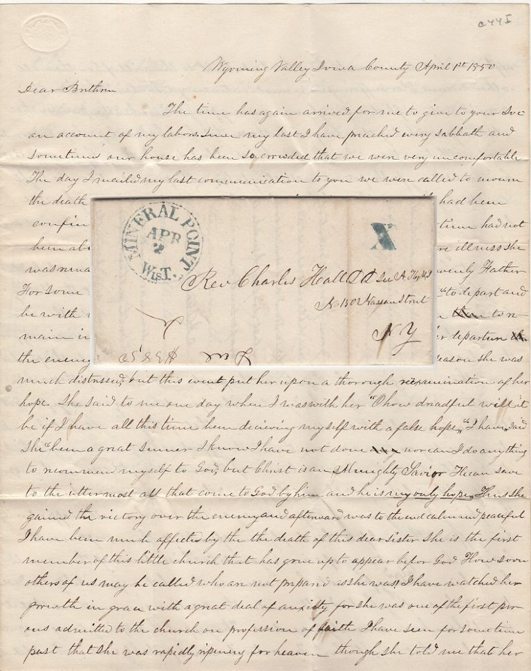 """FOLLOWING AN UNSUCCESSFUL REVIVAL, A DISHEARTENED MISSIONARY PREACHER LAMENTS, """"AFTER I LEFT THERE I WEPT OVER THE LOSS OF SUCH AN OPPORTUNITY OF WINNING SOULS TO CHRIST; Letter from a Presbyterian minister in the heart of Wisconsin's lead-mining district to the secretary of the American Home Missionary Society. A. D. Loughlin."""
