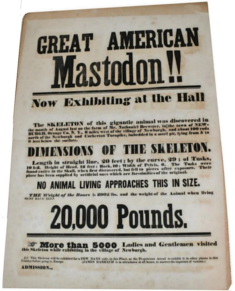 """GREAT AMERICAN MASTODON . . . NO ANIMAL LIVING APPROACHES THIS IN SIZE."" Large broadside advertising the discovery and display of the ""Great American Mastodon"" skeleton that turned the religious and scientific worlds on their heads. New York Nathaniel Brewster at Newburgh."