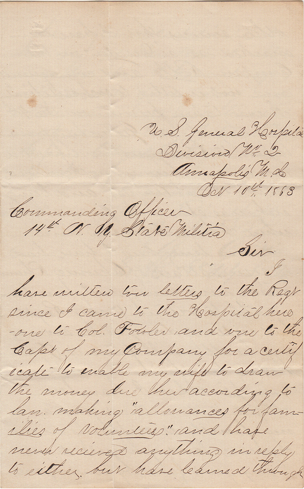 """""""I HAVE ALWAYS ENDEAVORED TO DO MY DUTY AS A SOLDIER"""" -- Letter from a Union Soldier who was taken prisoner at Gettysburg, but marked as a deserter before being paroled and hospitalized. George Geist."""