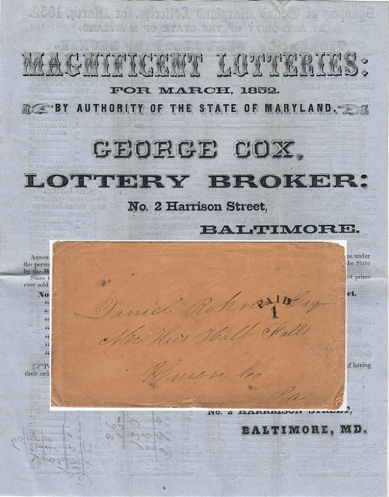 """""""MAGNIFICENT LOTTERIES . . . SPLENDID SCHEME . . .$1.901,900"""" Four-page handbill advertising 21 interstate mail-order lotteries originating in Maryland. Lottery Broker George Cox."""