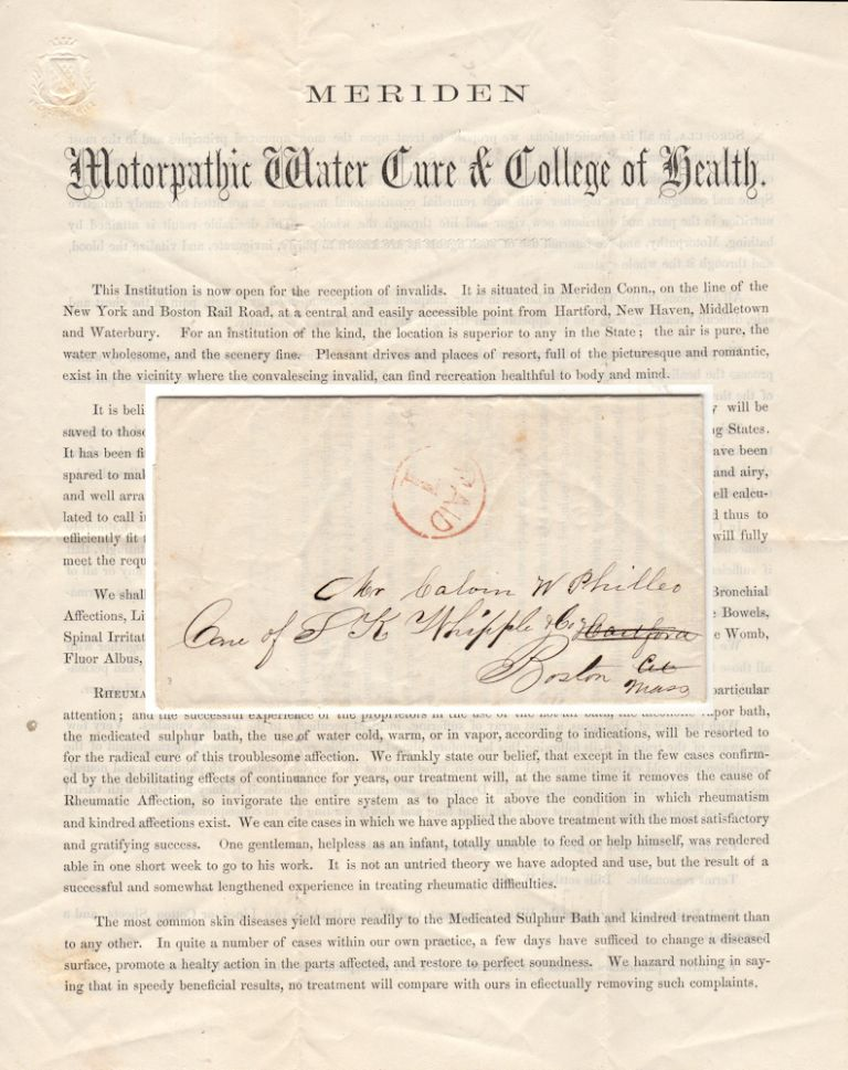 """""""WE SHALL TREAT CHRONIC DISEASES OF EVERY VARIETY AND NAME"""" Two-page handbill promoting the Meriden Motorpathic Water Cure and College of Health. Drs. Archer and Tait."""